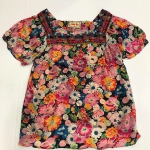Johnny Was Floral Embroidered Top